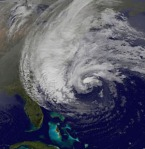 Hurricane Sandy as seen from NOAA's GOES-13 satellite on October 28, 2012.